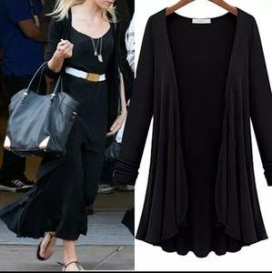 Sweaters - RUFFLED BLACK CARDIGAN